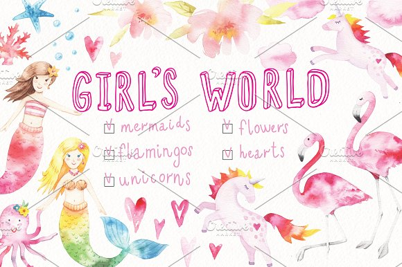 Watercolor GIRL'S WORLD