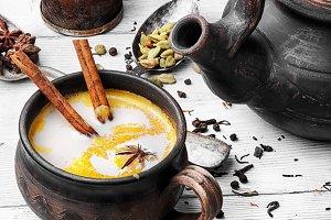 Masala tea in clay mug