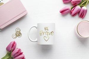 Pink Tulips Mug Mockup