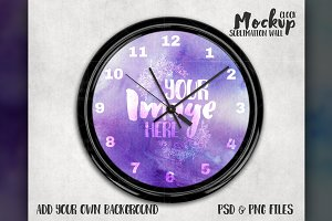 Sublimation wall clock mockup