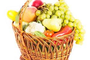 Basket of vegetables and fruits