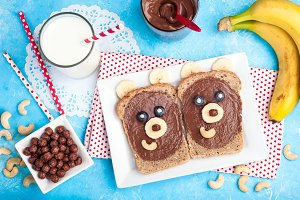 Children's breakfast with sandwiches