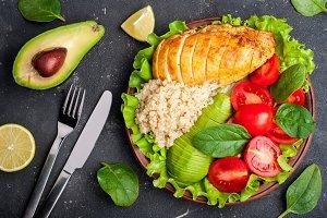 Healthy dinner and balanced food