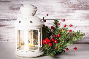 Cristmas lantern with fir and berries