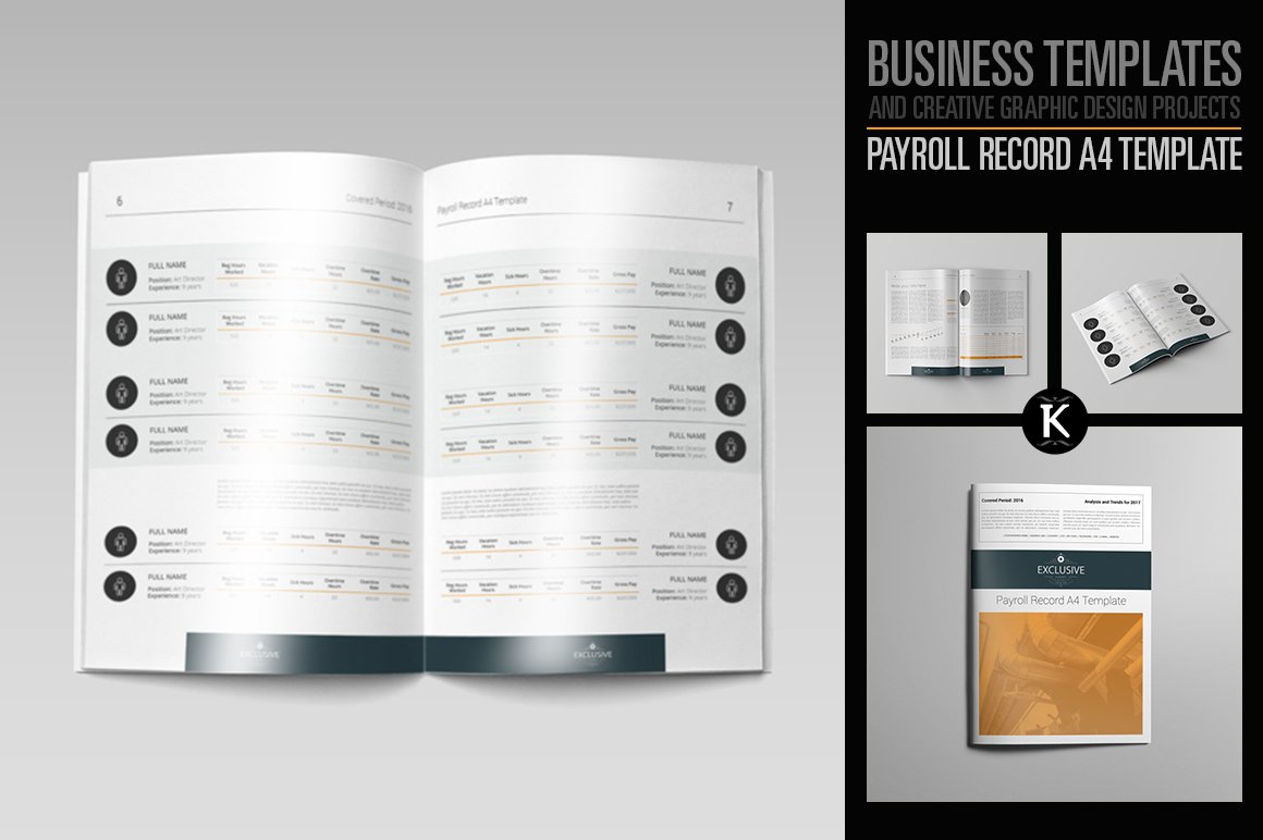 Payroll Record A4 Template Templates Creative Market