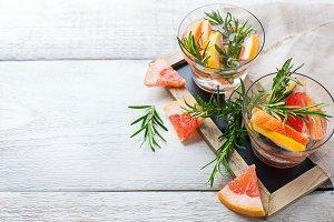 Grapefruit rosemary fresh infused water detox drink cocktail lemonade