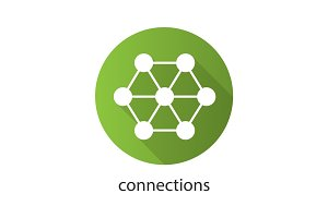 Connections flat design long shadow icon