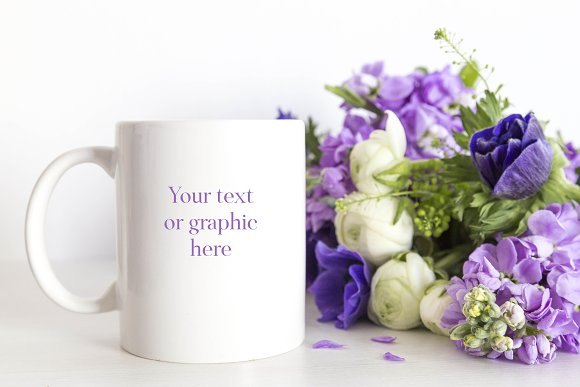 Blue Flowers Mug Mockup