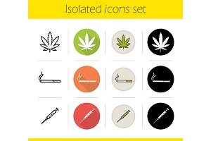 Bad habits icons set