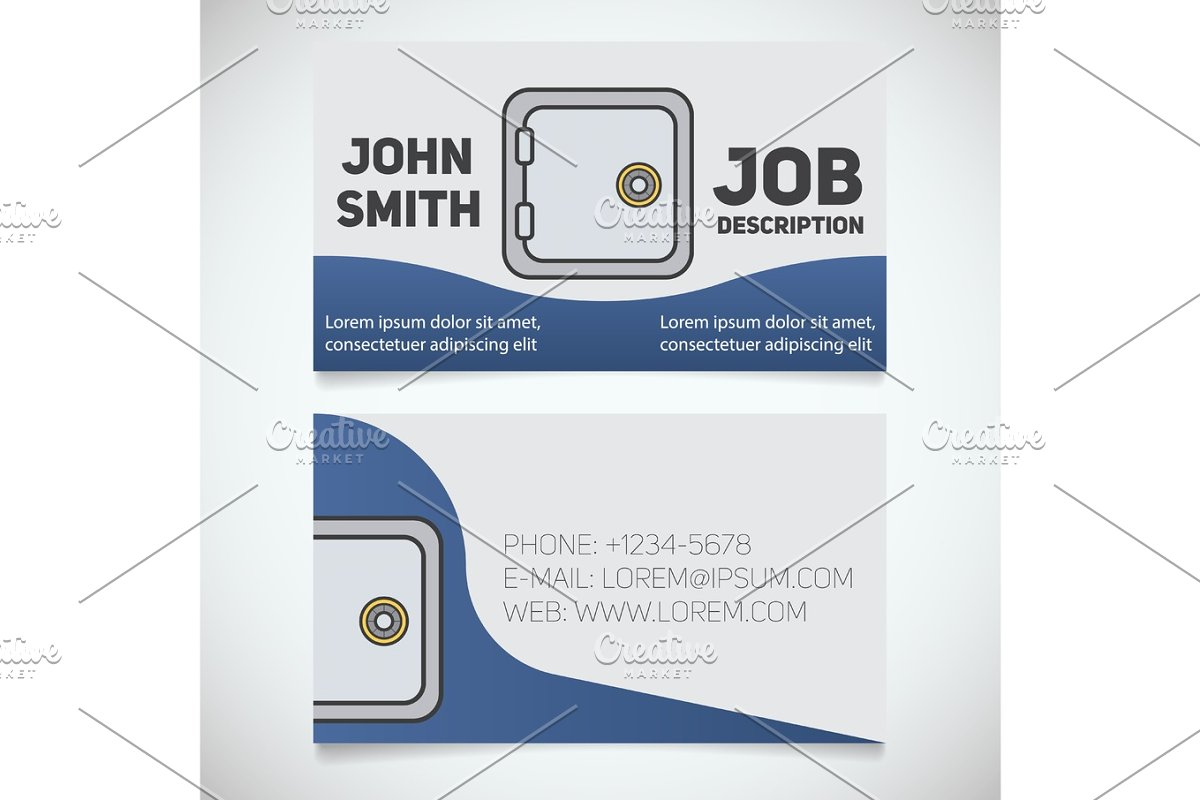 Design Bank Wit.Business Card Print Template With Bank Vault Logo