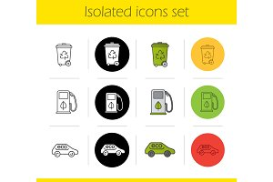 Environment protection icons set