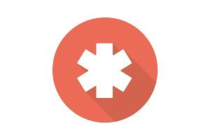 Star of life flat design long shadow icon