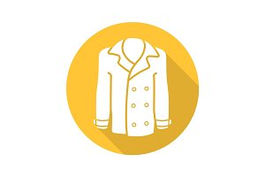 Men's coat flat design long shadow icon