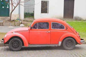 Vintage Volkswagen in Red