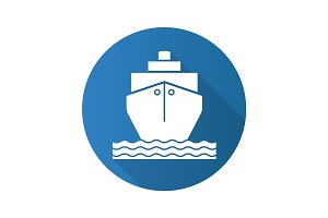 Cruise ship flat design long shadow icon