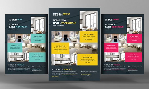 hotel promotion flyer template flyer templates creative market. Black Bedroom Furniture Sets. Home Design Ideas