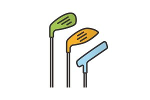 Golf clubs color icon