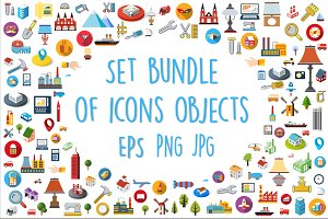 Bundle set of flat web icons