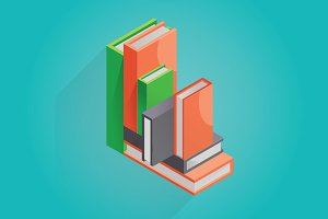 Illustration of isometric books