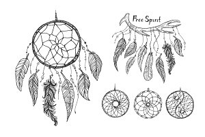 Vector dream catchers and feathers