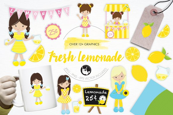 Fresh Lemonade Illustration Pack