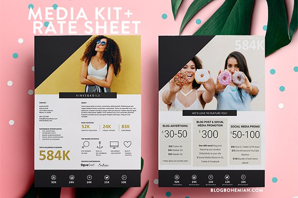 2 Page | Media Kit + Rate Sheet ~ Resume Templates ~ Creative Market