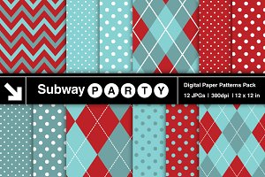 Aqua Red Chevron, Argyle & Polka Dot