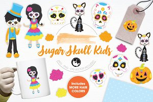 Sugar Skull Kids illustration pack
