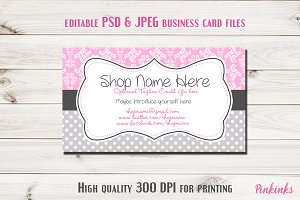 Pink Damask Business Card Template