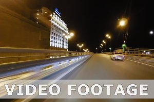 Timelapse of night city streets high speed driving