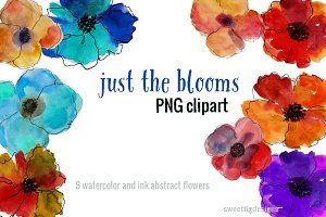 watercolor blooms clipart