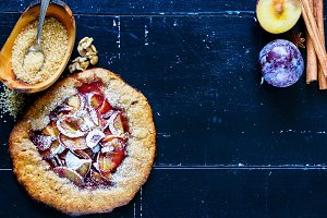 Homemade plum pie