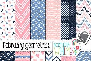 Pink, Navy & Periwinkle Geometric