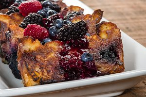 Bread pudding with berry topping