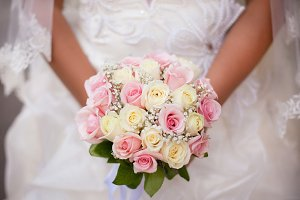 White and pink wedding bouquet with