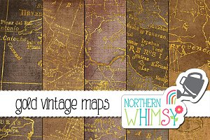 Gold Distressed Vintage Maps