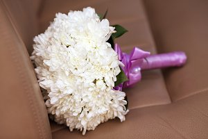 White chrysanthemum wedding bouquet