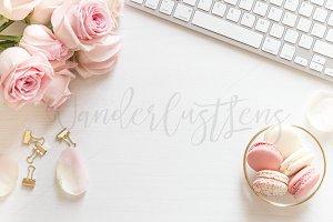 Pink Macaroons styled desktop