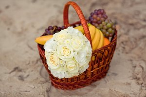 Pastel wedding bouquet in the basket