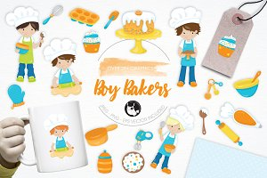 Boy Bakers illustration pack