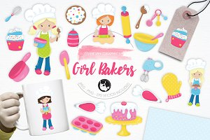 Girl Bakers illustration pack