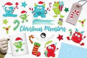 Christmas Monsters illustration pack