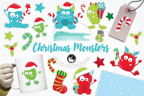 Christmas Monsters Illustration Pack