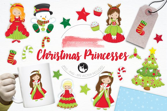 Christmas Princesses Illustrations