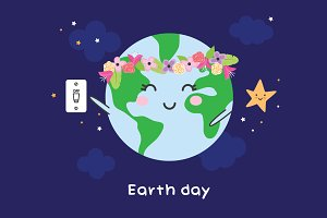 Earth day - cute illustration