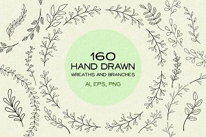160 Hand drawn wreaths and branches