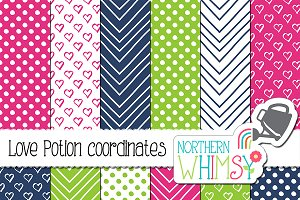 Pink, Navy & Lime Geometric Patterns