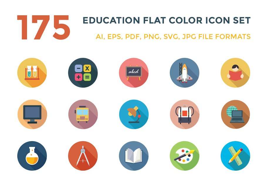 774b1245db4 175 Education Vector Icons