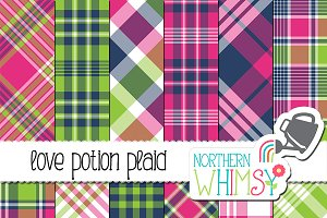 Pink Navy & Lime Plaid Patterns