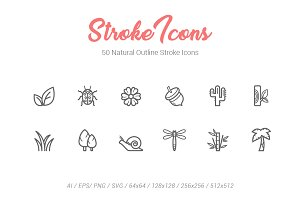 50 Natural&Life Outline Stroke Icons